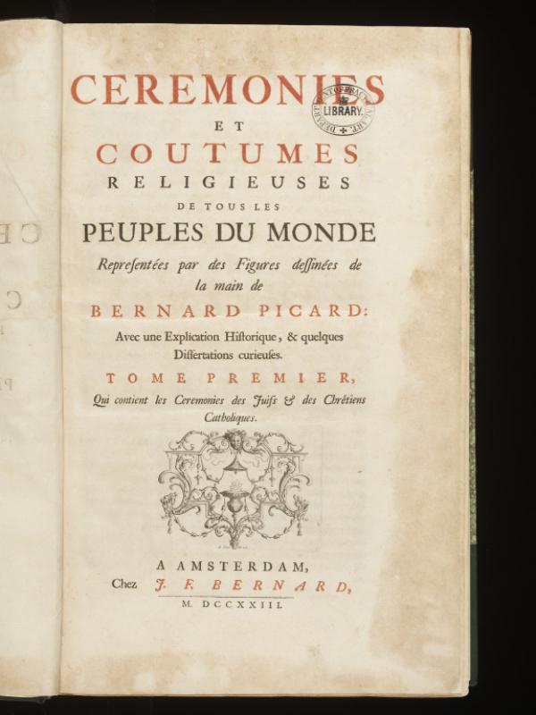 Title page from Volume I of 'Cérémonies'