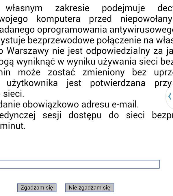 Detail of a Wi-Fi screen in Polish