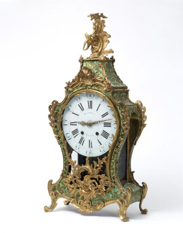Too many scrolls?! - Clock with gilt-bronze mounts, case stamped F. Goyer, French, 1740-1760 (V&A M.1-1940)