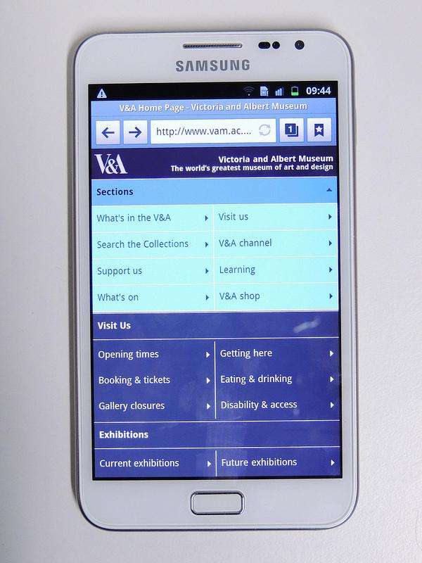 Galaxy note showing V&A responsive 2 column display in navigation mode