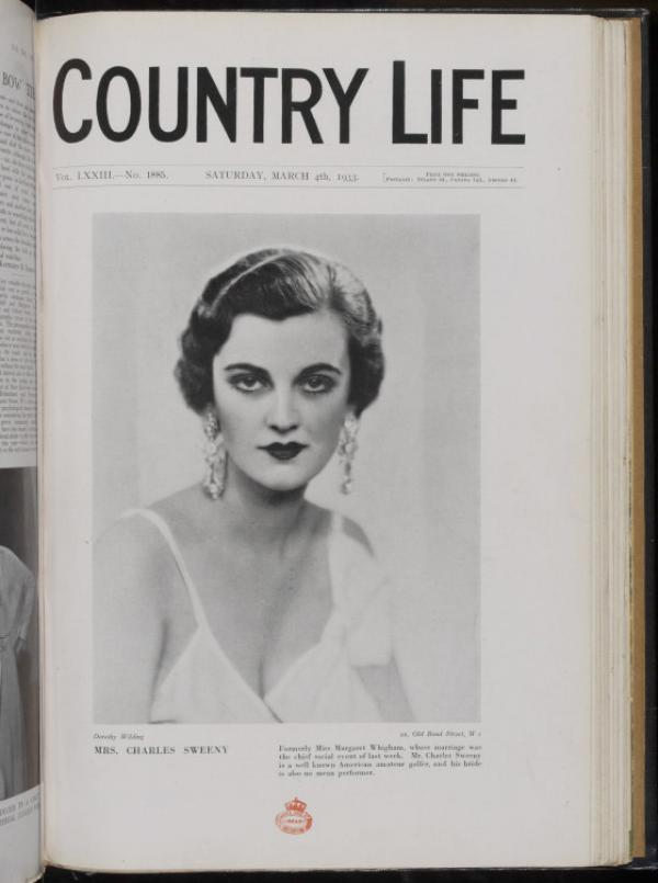 Front cover featuring Mrs. Charles Sweeny, née Miss Margaret Whigham; of Country Life Magazine, Saturday, March 4th 1933. © Victoria and Albert Museum, London