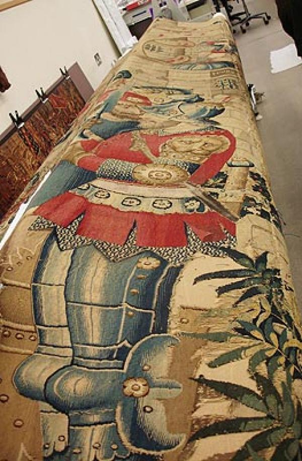 'The War of Troy' tapestry awaiting conservation. Museum no. 6-1887. Woven in Tournai (Flandres) in 1490.