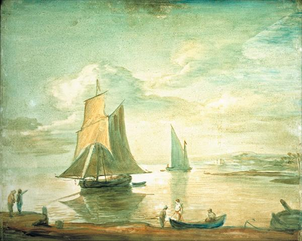 Coastal Scene with Sailing and Rowing Boats and Figures on Shore, oil painting, Thomas Gainsborough, about 1783, transparent oil