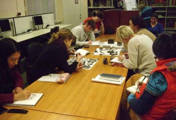 Bishopsland students studying at the Archive of Art and Design