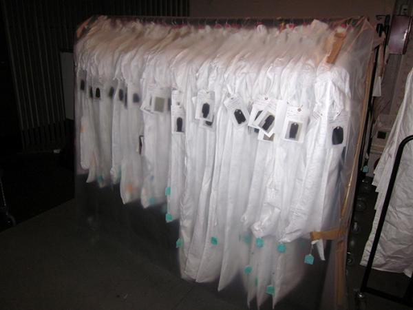 A rail of dress ready to move