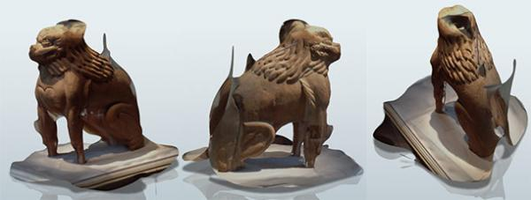 3D modelds of carved wooden lion-dog figure in Portland Art Museum