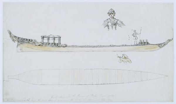 Design for a Royal barge for Prince Frederick by William Kent, 1732