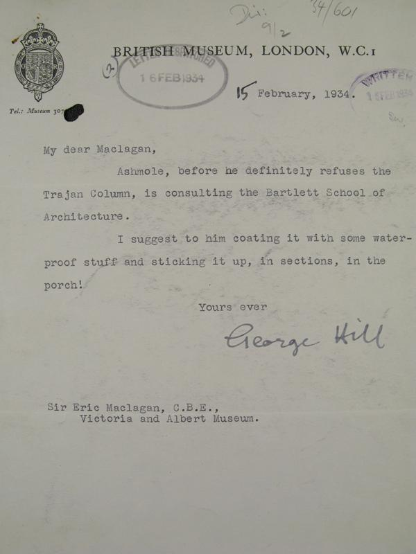 Letter from Sir George Hill to Sir Eric Maclagan, 15th February 1934