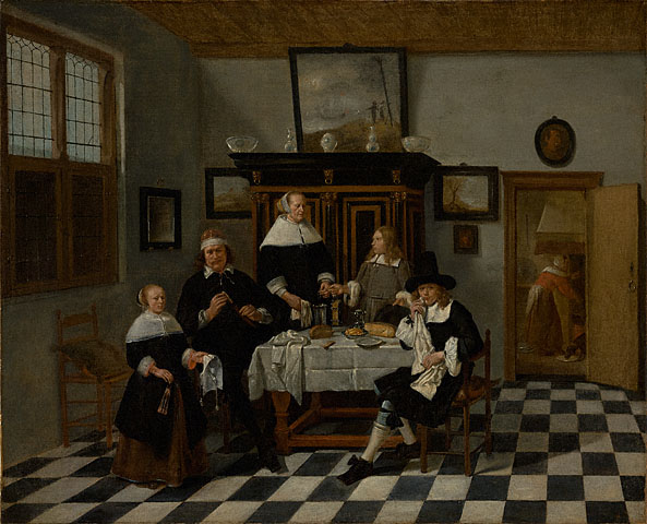 A Family Group in an Interior, attributed to Quiringh van Breckelenkam, ca.1658-70 J. Paul Getty Museum