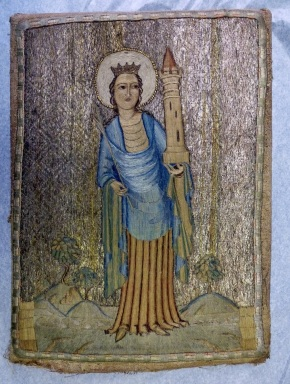 T.13-1937, embroidered picture of St. Barbara, probably a 20th century forgery © Victoria and Albert Museum, London