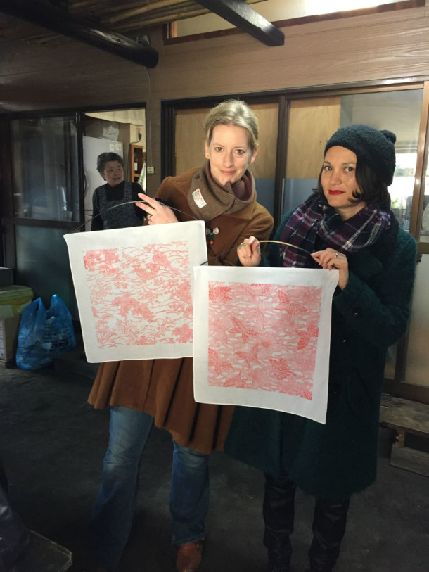 Elizabeth Kramer and Sarah Cheang with pasted handkerchiefs