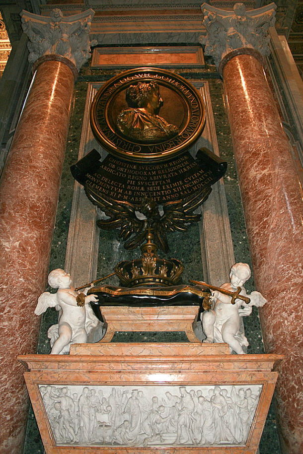 Queen Christina's monument in St. Peter's Basilica, by Fontana Carlo. Photograph by Jean-Pol Grandmont.
