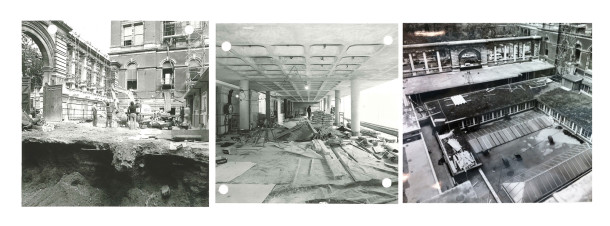 Images of the design gallery and Sackler link construction, 1979.