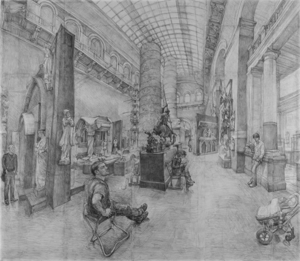 Pencil drawing of Trajan in the Cast Court