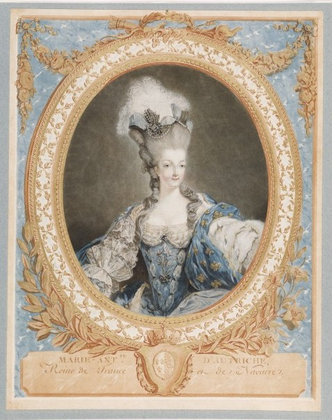 Marie-Antoinette, colour aquatint, by Jean Francois Janinet, after a painting by Jean-Baptiste-André Gautier-Dagoty, France, 1777. V&A E.422-1905