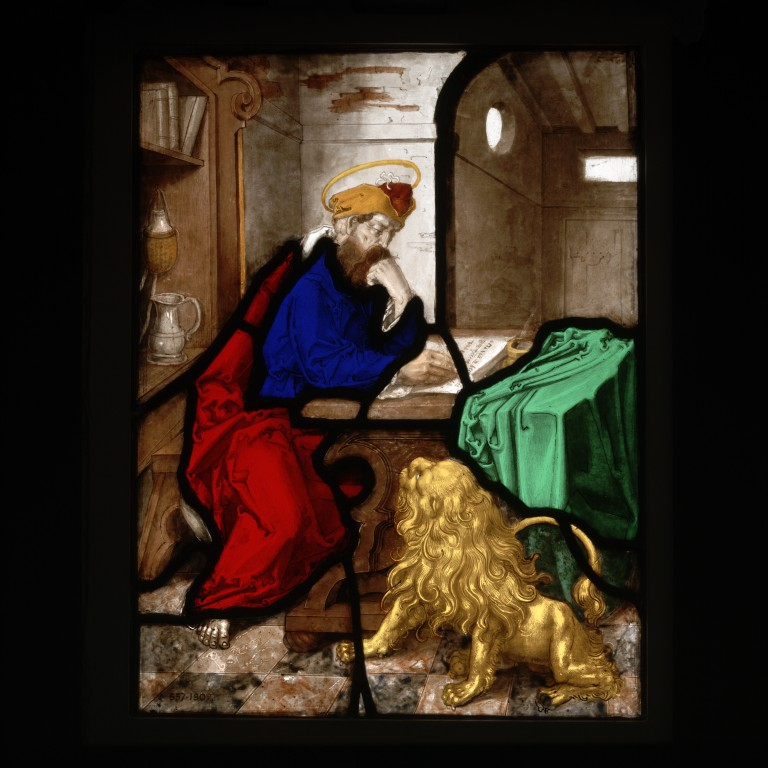 St Jerome in his Study, stained-glass panel, Germany, ca.1550. Museum no. 537-1907 © Victoria and Albert Museum, London