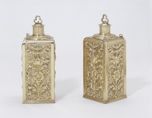 A pair of silver-gilt perfume flasks with foliate decoration, with the marks of Geneviève Cabarin, widow of Pierre Danet and of Jean Leroy, Paris, around 1672 V&A 806toC-1892
