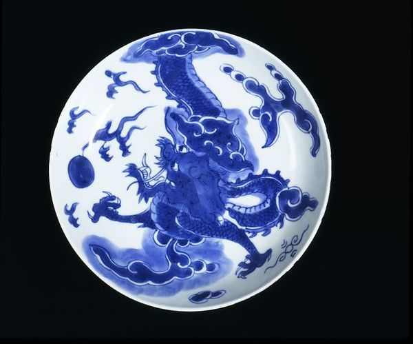 Plate made in Jingdezhen, China  1700-1710  Porcelain, with cobalt blue underglaze