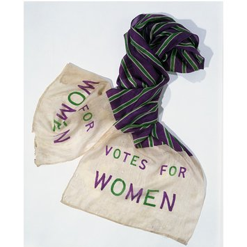One #DisobedientObjects is the Women's Social and Political Union (WSPU) scarf above.  Museum no. T.20-1946,  Image © Victoria and Albert Museum, London.