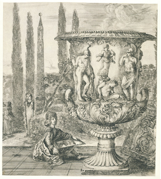 This 1656 print by Stefano Della Bella shows the vase in the gardens of the Villa being drawn by a boy thought to be the Medici heir who later became Grand Duke Cosimo III. V&A  E.1527A/528-1915