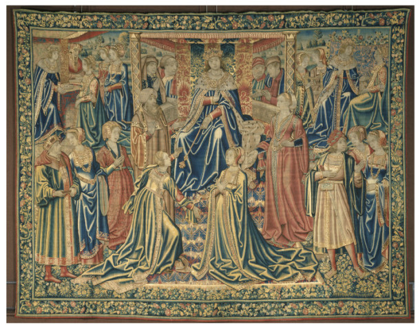 Esther approaching Ahasuerus, tapestry woven in silk and wool, Brussels, 1510-1520. V&A 338-1866