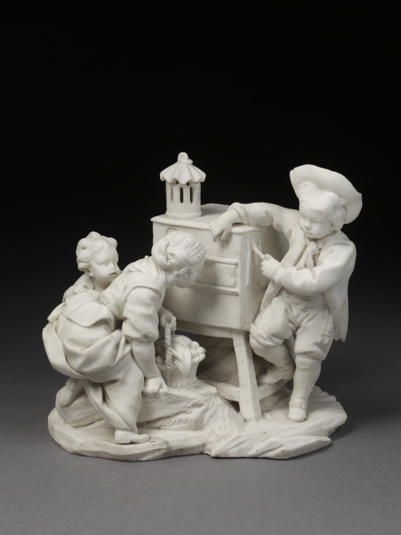 'La Lanterne Magique', figure group in biscuit porcelain of children with a peep- show, modelled by Étienne- Maurice Falconet (after a print  derived from a tapestry design by François Boucher), made by Sèvres porcelain  factory, Sèvres, ca. 1757. V&A 414:428-1885