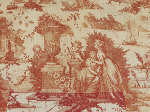 Detail of 'The Art of Loving' or 'The Pleasant  Lesson'. Copper plate-printed cotton furnishing fabric, possibly made  by Favre Petitpierre et Cie, Nantes, France, ca. 1785- 1790. Three of the scenes come from paintings  by Boucher (1703-70)  - The Pleasant Lesson  (1748) and The Lovers  Surprised  (1748), both engraved by René Gaillard in 1758, and a now lost painting. V&A T.73-1964