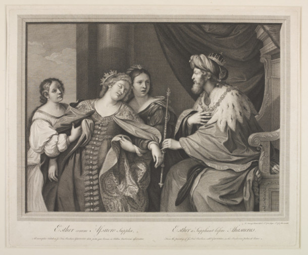 Esther suppliant before Ahasuerus, after Guercino, print on paper., by Sir Robert Strange, English School, 18th century. V&A DYCE.2873