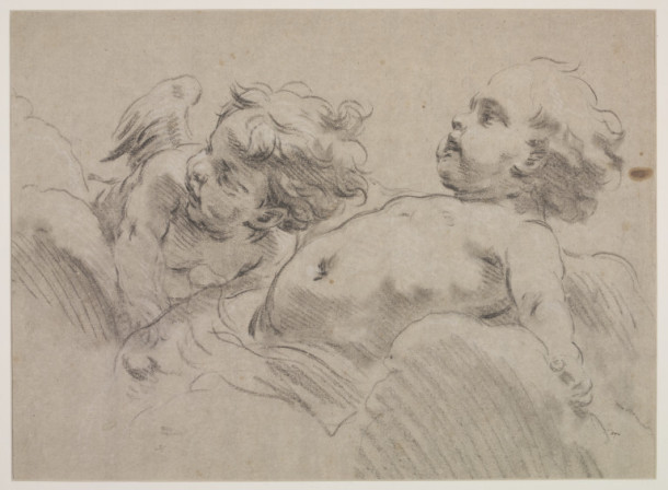 Study of two Cupids reclining on  clouds, chalk on paper, François Boucher, France, 18th century. V&A DYCE.594