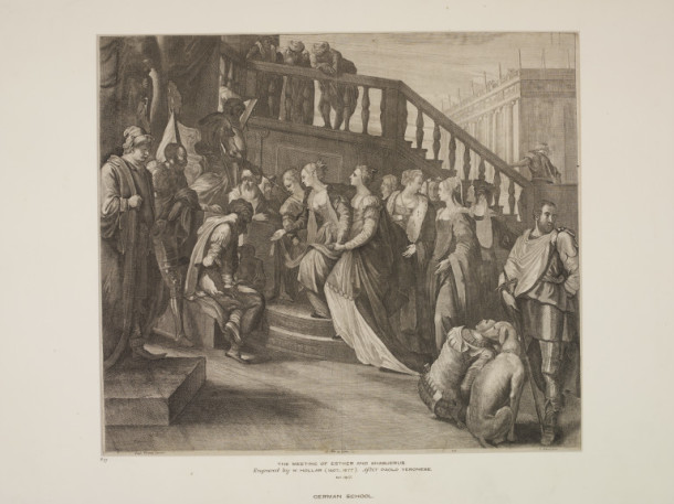 The Meeting of Esther and Ahasuerus, after Paolo Veronese, print on paper, by Wenzel Hollar, Germany or England, early - mid 17th century. V&A DYCE.1917
