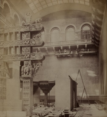 An image of the Cast Court taken in 1872 with people working under the balcony at the top © Victoria and Albert Museum, London