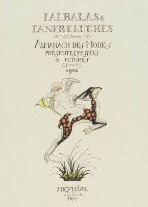 George Barbier. Cover page for the 1926 edition of  Falbalas et Fanfreluches Colour process engraving published by Meynial, Paris. E.617-1954