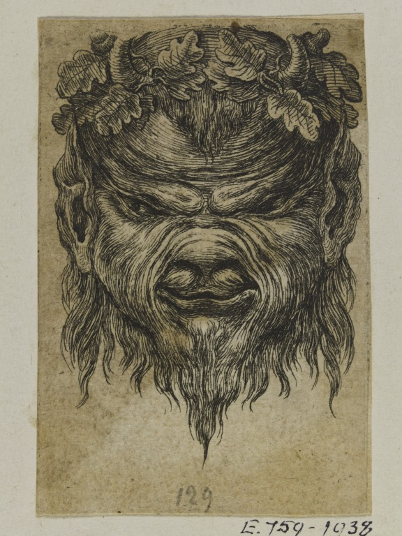 Grotesque study of a mask of a satyr's head  from a group of 1679 metalwork designs bound in two volumes, French, mid-18th century (V&A E.756-1938) © Victoria and Albert Museum, London