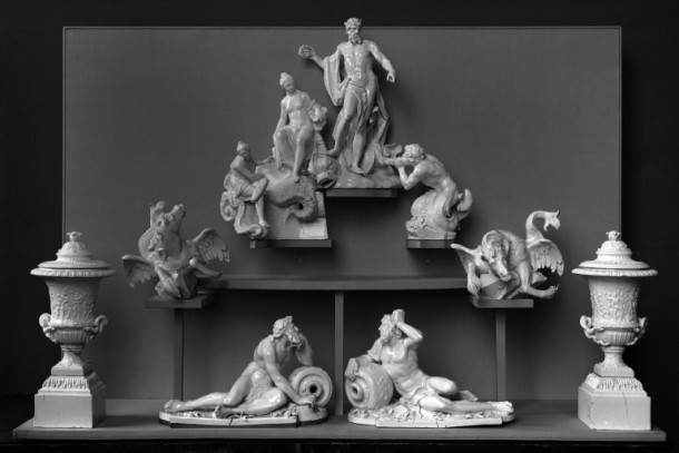 A previous display arrangement of some pieces from the fountain © Victoria and Albert Museum, London