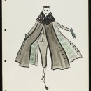 'Poursuite'. Design for a skirt suit and coat by Lou Claverie for Paquin, Paris, mid-1950.