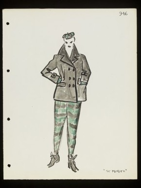 'St Moritz.' Skiing outfit. Designed by Lou Claverie for Paquin, Winter 1950-51