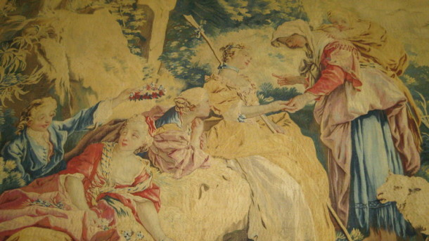 A snap-shot detail of 'La Bohémienne', a wool and silk tapestry made by the Beauvais Tapestry Factory to designs by François Boucher, 1738-1759. V&A T.216-1972