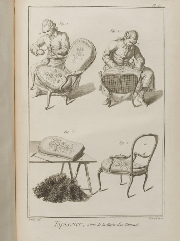 Plates from Diderot and d'Alembert's 'Encyclopédie' have been photographed for use in an interactive exploring trades and the construction of various objects.