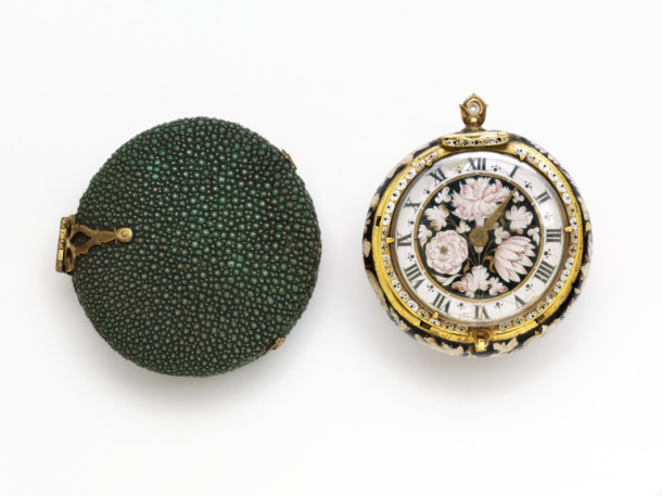 This mid-17th century watch, with its enamelled gold case and movement by Jacques Huon, required a number of shots to convey its facets. V&A 7715&A-1862
