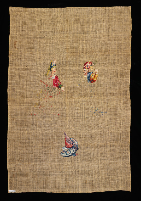 Shot showing the back of an unfinished panel of needlework. It was partially embroidered with wool and silk threads,  in tent stitch, on linen canvas, France (probably), ca.1720-50 V&A T.131-2012