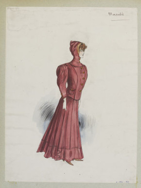 'Mercédès'. Old-rose coloured sports ensemble, the jacket with a hood. Possibly for skiing or winter sports. Designed by Jeanne Paquin for Summer 1905.