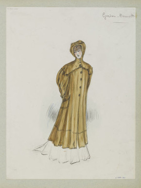 'Gordon Bennett'. Brown motoring duster coat with hood and large pockets. Designed by Jeanne Paquin for Summer 1905.