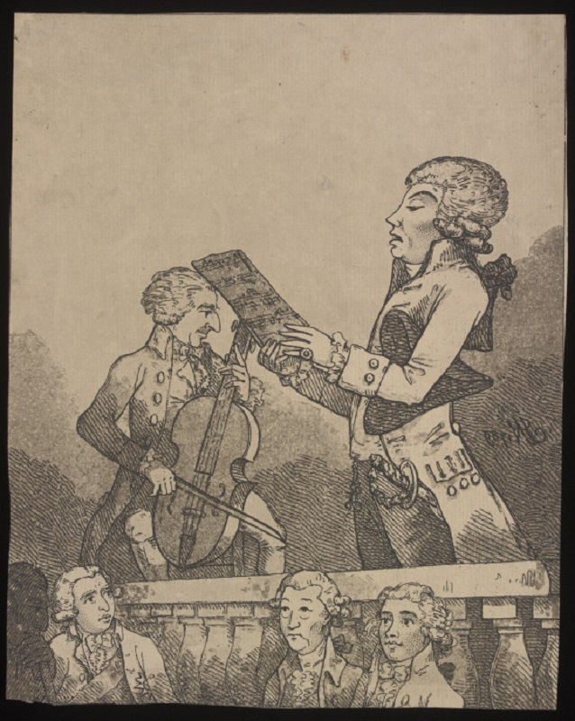 Print entitled 'A Bravura at the Hanover Square Concert'