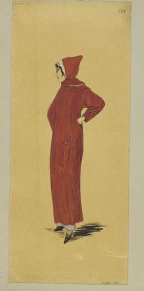 Dark red motoring coat with hood. Designed by Jeanne Paquin for Winter 1913.
