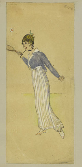 Dress worn for playing tennis. Designed by Jeanne Paquin for Summer 1914.