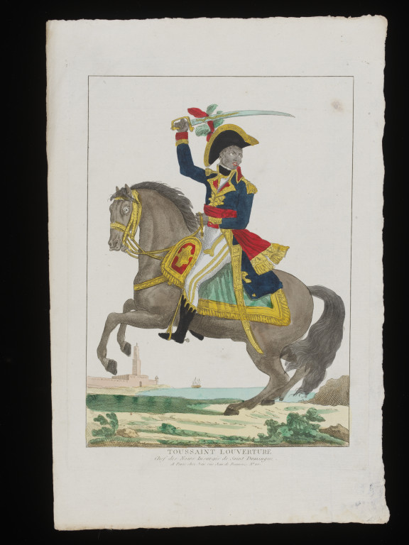 Toussaint Louverture on horseback; hand coloured etching by an unknown artist; French,  1802