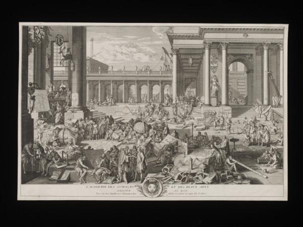 'L'académie des Sciences et des Arts dédiée au Roy', print, after Sebastien Le  Clerc, made by Charles-Nicolas Cochin, Paris, 1698-1715 V&A 26912