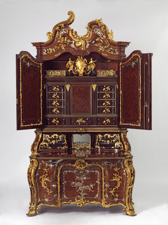 The inside of our mid-18th century 'Augustus Rex' writing cabinet V&A W.63-1977
