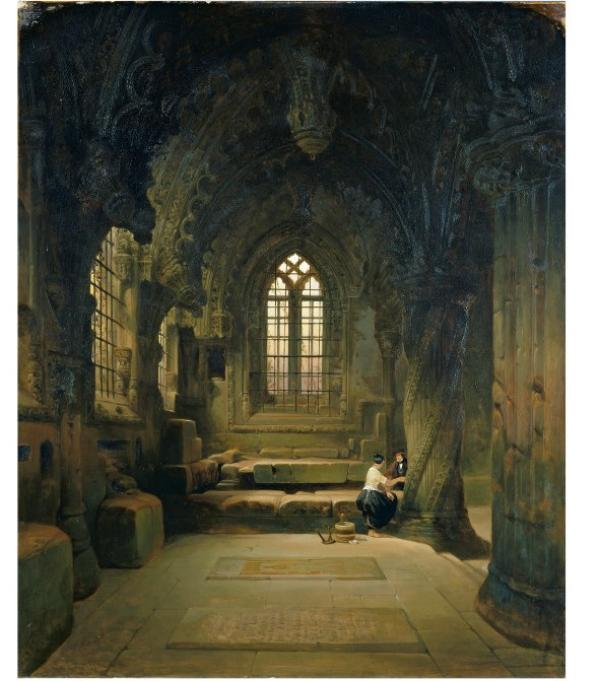 Entrance to the crypt, Roslin Chapel, David Roberts, 1843, Museum no. FA.174[O]