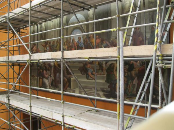 The School of Athens behind scaffolding